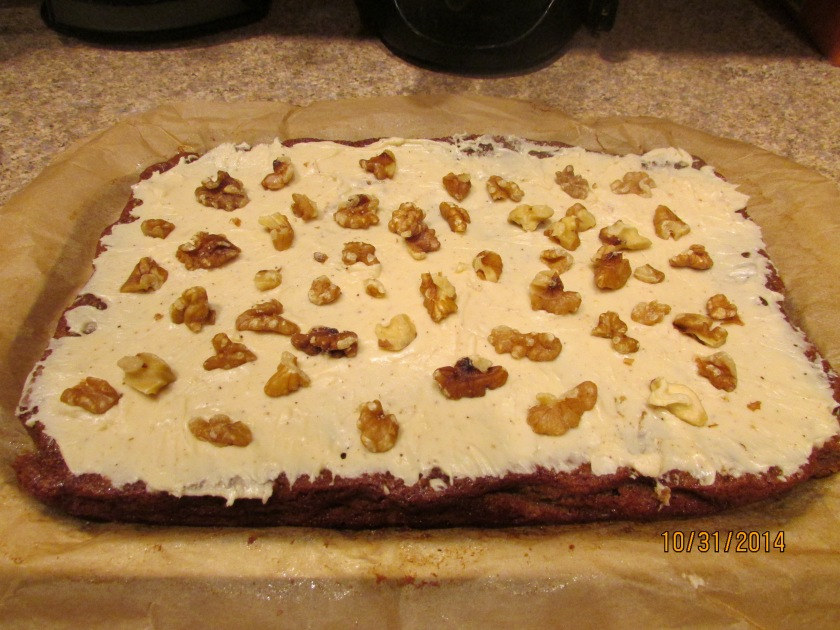 After cools, ice it and add some walnuts if you wish!